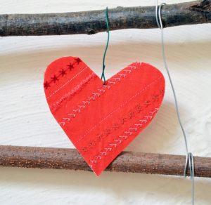 Valentínska dekorácia so srdiečkami
